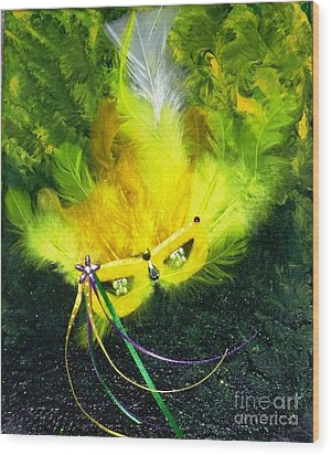 Wood Print featuring the painting Mardi Gras On Green by Alys Caviness-Gober