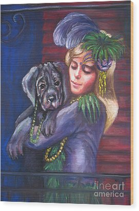 Mardi Gras Puppy Wood Print by Beverly Boulet