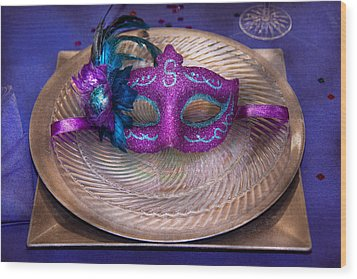 Mardi Gras Theme - Surprise Guest Wood Print by Mike Savad