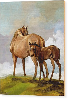 Mare And Foal Wood Print by Patricia Howitt