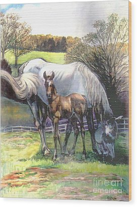 Mare And Foal Wood Print by Stan Esson