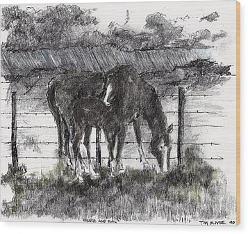 Wood Print featuring the mixed media Mare And Foal by Tim Oliver
