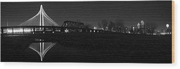Margaret Hunt Hill Bridge Dallas Skyline Black And White Wood Print by Jonathan Davison