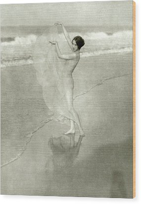 Margaret Severn On A Beach Wood Print by Arnold Genthe