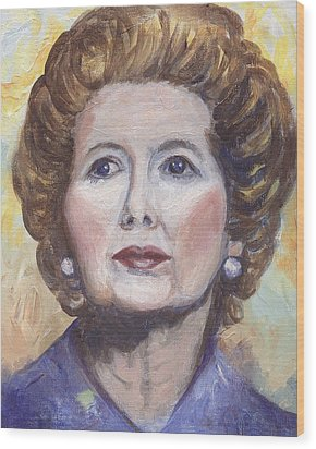 Margaret Thatcher Two Wood Print by Linda Mears