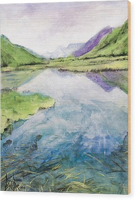 Wood Print featuring the painting Margo's Mountains by Ron Richard Baviello