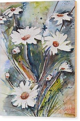 Marguerites Wood Print by Ismeta Gruenwald