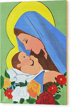 Wood Print featuring the painting Maria And Baby Jesus by Magdalena Frohnsdorff