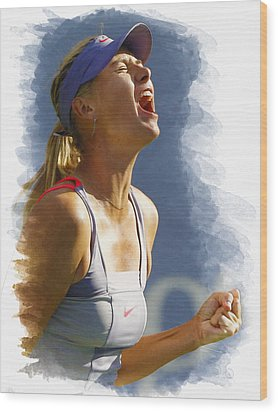 Maria Sharapova - Us Open 2011 Wood Print by Don Kuing