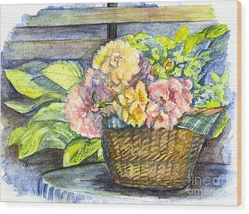 Marias Basket Of Peonies Wood Print