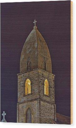 Marienkirche At Night Wood Print by Gary Holmes
