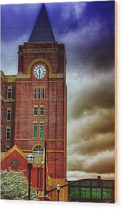 Wood Print featuring the photograph Marietta Clock Tower by Dennis Baswell