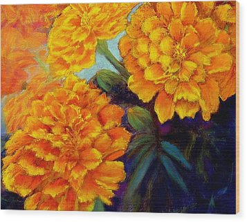 Wood Print featuring the pastel Marigolds In Bloom Pastel  Sold by Antonia Citrino