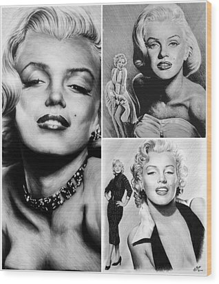 Marilyn Collage Wood Print by Andrew Read
