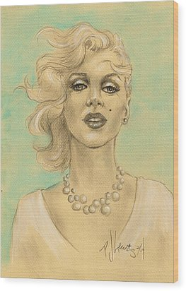 Marilyn In White Wood Print by P J Lewis