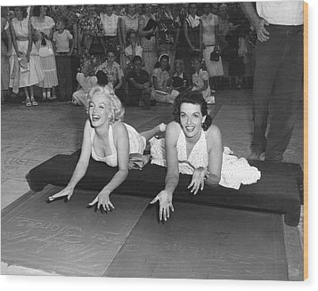 Marilyn Monroe And Jane Russell Wood Print by Underwood Archives