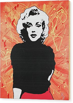 Wood Print featuring the painting Marilyn Monroe - Red Drip by Bob Baker