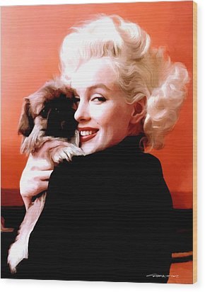 Marilyn Monroe And Pekingese Portrait Wood Print