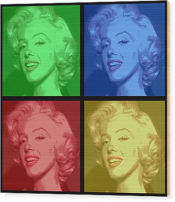 Marilyn Monroe Colored Frame Pop Art Wood Print by Daniel Hagerman
