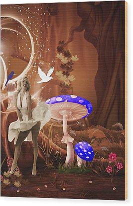 Marilyn Monroe In Fantasy Land Wood Print by EricaMaxine  Price