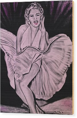 Wood Print featuring the drawing Marilyn Monroe Pretty In Pink Lite by Eric Dee