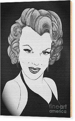 Marilyn Monroe- Scratch Bd Wood Print by Linda Simon