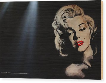 Wood Print featuring the painting Marilyn Monroe - Tmi by Eric Dee