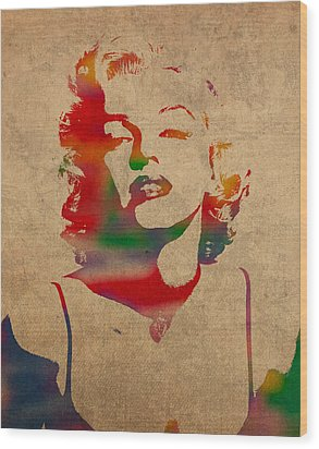 Marilyn Monroe Watercolor Portrait On Worn Distressed Canvas Wood Print by Design Turnpike