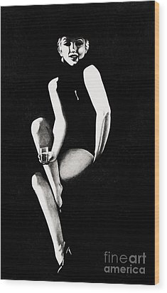 Wood Print featuring the drawing Marilyn Relaxing by Joseph Sonday