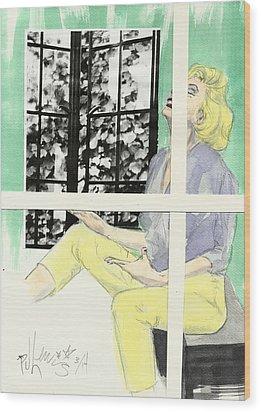 Marilyn's Two Windows Wood Print by P J Lewis