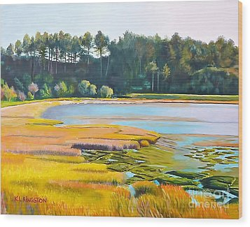 Wood Print featuring the painting Marin County Marsh by K L Kingston