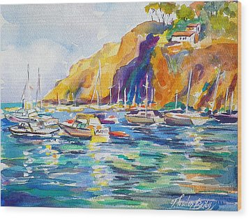 Marina At Catalina Wood Print by Therese Fowler-Bailey