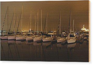 Marina At Night Wood Print by Jenny Hudson