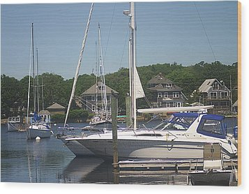 Wood Print featuring the photograph Marina At Woods Hole Ma by Suzanne Powers