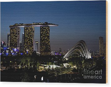 Marina Bay Skyline Wood Print by Ivy Ho
