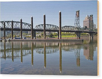 Wood Print featuring the photograph Marina By Willamette River In Portland Oregon by JPLDesigns