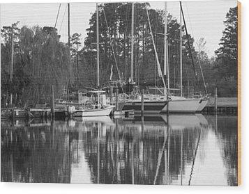Marina In Black And White Wood Print by Carolyn Ricks