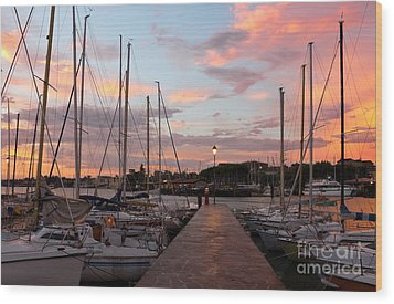 Marina In Desenzano Del Garda Sunrise Wood Print by Kiril Stanchev