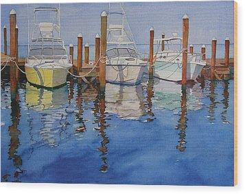 Marina Wood Print by Judy Mercer