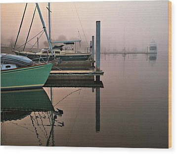 Wood Print featuring the photograph Marina Morning by Laura Ragland
