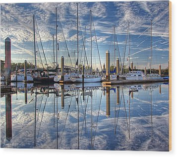 Wood Print featuring the photograph Marina Morning Reflections by Farol Tomson