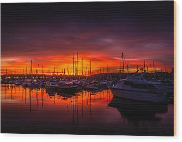 Marina Sunset Wood Print by Dawn OConnor