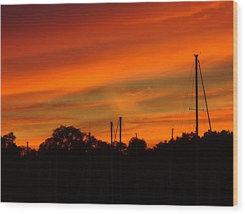 Wood Print featuring the photograph Marina Sunset by Deena Stoddard