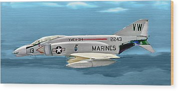 Marine F-4 Phantom  Painting Wood Print by Bob and Nadine Johnston