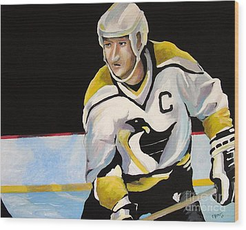 Mario Lemieux The Penguin That Saved Pittsburgh Wood Print by Philip Kram
