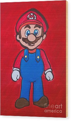 Wood Print featuring the painting Mario by Marisela Mungia