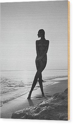 Marisa Berenson At A Beach Wood Print by Arnaud de Rosnay