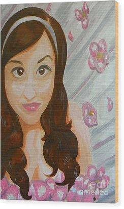 Wood Print featuring the painting Marisela by Marisela Mungia
