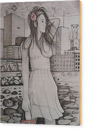 Wood Print featuring the painting Marissa by Richie Montgomery