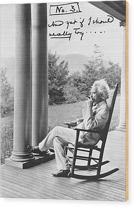 Mark Twain On A Porch Wood Print by Underwood Archives
